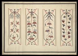 Four panels with flower designs in pietra dura from the screen, Taj Mahal, Agra